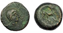 69  -  HISPANIA ANTIGUA. URSO. As. Siglo II a.C. A/ Cabeza masculina a der., delante (V)RSONE. R/ Esfinge a der., debajo (L AP) DEC. AE 30,51 g. 33,4 mm. I-2498. ACIP-2324. Pátina oscura. BC+.