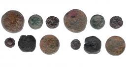 70  -  GRECIA ANTIGUA. Lote de 6 monedas de los Ptolomeos: bronces (2) unidades (2) y semis (2). RC/MBC-.