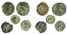 71  -  GRECIA ANTIGUA. Lote de 5 monedas de bronce de distintos valores: Malaka (1) y siculo-púnicas (4). De BC- a MBC.