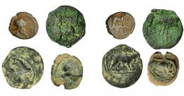 72  -  GRECIA ANTIGUA. GALIA. Masalia. Lote de 4 monedas de bronce. De BC- a BC+.
