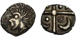 """73  -  GRECIA ANTIGUA. GALIA. Volcas tectósagos. Dracma """"à la croix"""" (siglo II-I a.C.). AR 2,57 g. 15,36 mm. De la Tour-2986. MBC-/MBC. Ex Áureo & Calicó 28-9-1993, lote 41."""
