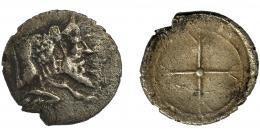 74  -  GRECIA ANTIGUA. SICILIA. Gela. Óbolo. (480-475 a.C.). A/ Toro con cabeza humana a der. R/ Rueda de cuatro radios. AR 0,44 g. 9,29 mm. COP- 259.MBC-/MBC.