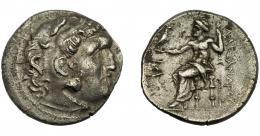 77  -  GRECIA ANTIGUA. MACEDONIA. Alejandro III. Tetradracma. A/Cab. con leonté a der.. R/ Zeus entronizado, delante antorcha. AR 16,56g. 29,06 mm. PR- 3519? MBC.