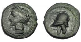 8  -  HISPANIA ANTIGUA. ACUÑACIONES HISPANO-CARTAGINESAS. Quinto. A/ Cabeza de Tanit a izq. R/ Casco con orejeras a izq. AE 1,31g. 11,9 mm.  I-521. ACIP-582. BC+/MBC+.