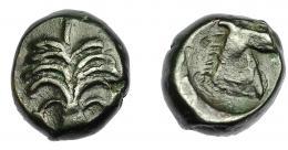 88  -  GRECIA ANTIGUA. ZEUGITANIA. Cartago. AE (350-320 a.C.). A/ Palmera con dos racimos de dátiles. R/ Cabeza de caballo a der. AE 5,56 g. 15,74 mm. COP-105. MBC-.