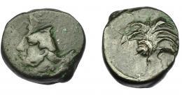 89  -  GRECIA ANTIGUA. ZEUGITANIA. Cartago. AE (350-320 a.C.). A/ Palmera con dos racimos de dátiles. R/ Doble acuñación con cabeza de caballo a der. y Tanit a izq. AE 4,83 g. 17,17 mm. COP-105 vte. BC+/MBC-.