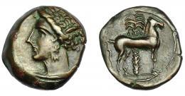 90  -  GRECIA ANTIGUA. ZEUGITANIA. Cartago. 1/2 calco (400-350 a.C.). A/ Cabeza de Tanit a izq. R/ Caballo parado a der., detrás palmera. AE 3,42 g. 16,3 mm. COP-109-113.