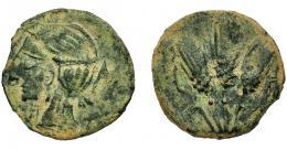 97  -  GRECIA ANTIGUA. MAURITANIA. Iol Caesarea. AE. A/ Cabeza de Isis-Tanit a izq., detrás letra púnica. R/ Tres espigas, en campo letra púnica. AE 4 g. 21,07 mm. Pátina verde terrosa. MBC-.