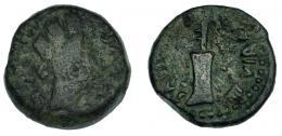 10  -  CARTEIA. Semis. A/ Cabeza femenina torreada; GERMANICO ET DRVSO. R/ Timón; CAESARIBVS IIII VIR CART. I-686. RPC-123. BC/BC+.