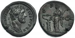 102  -  ANTONINO PÍO. Sestercio. Roma (148-149). A/ Cabeza laureada a der.; ANTONINVS AVG PIVS P F TR. R/ Salus a izq. alimentando serpiente sobre altar; COS III, S-C. RIC-602. Pátina marrón rojiza. EBC-.