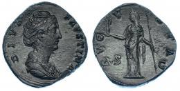 107  -  FAUSTINA LA MAYOR. Sestercio. Roma (post. 141). R/ Vesta a izq., AVGVST, S-C. RIC-1124. Porosidades. Pátina verde. EBC-.