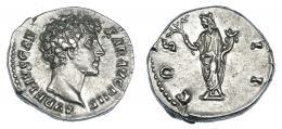 109  -  MARCO AURELIO (bajo Antonino Pío). Denario (145-147). A/ Cabeza a der.; AVRELIVS CAESAR AVG PII F. R/ Honos a izq. con rama y cornucopia; COS II. RIC-429a. EBC-.