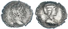 112  -  SEPTIMIO SEVERO. Denario. Roma (200-201). R/ Busto de Julia Domna; IVLIA AVGVSTA. RIC-161a. Erosiones en el canto. MBC-. Muy escasa.