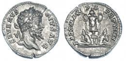 113  -  SEPTIMIO SEVERO. Denario. Roma. Posterior a 201 d.C. R/ Trofeo flanqueado por dos cautivos partos. RIC-176. Pequeña grieta. EBC-/MBC+.