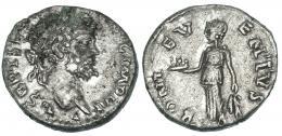 114  -  SEPTIMIO SEVERO. Denario. Laodicea (195-196). A/ IMP VII. R/ Bonus Eventusa izq. con centro de frutas y espigas; BONVS EVENTVS. RIC-468. MBC-.