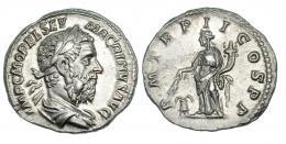116  -  MACRINO. Denario. Roma (217). R/ Annona a izq. con conucopia y espiga sobre modio; P M TR P II COS P P. RIC-26. EBC-.