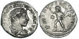 117  -  HELIOGÁBALO. Denario. Roma (220). R/ Sol avanzando a izq., delante estrella; P M TR P COS III P P. RIC-28. MBC.