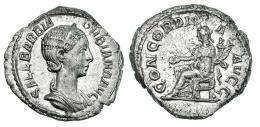 120  -  ORBIANA. Denario. Roma. R/ Concordia sentada a izq. con pátera y doble cornucopia; CONCORDIA AVGG. RIC-319. EBC-.