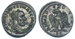 122  -  TRAJANO DECIO. Tetradracma. Antioquía (Siria). R/ Águila a izq. SBG-4209 vte. RPC-IX,1606. Oxidaciones. EBC.