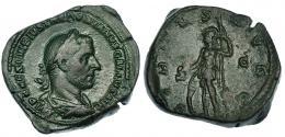 124  -  TREBONIANO GALO. Sestercio. Roma. R/ Virtus a izq. con escudo y lanza; VIRTVS AVGG, S-C. RIC-126a. Pátina verde. MBC/MBC-. Muy escasa.