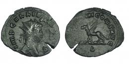 128  -  GALIENO. Antoniniano. Roma (267-268). R/ Grifo a izq.; (APOLLI)NI CONS AVG, exergo delta. RIC-165. Grieta. MBC+.