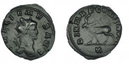 129  -  GALIENO. Antoniniano. Roma (267-268). R/ Ciervo a izq.; DIANAE CONS AVG, exergo X. RIC-179. Acuñación floja. MBC.