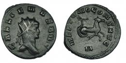 133  -  GALIENO. Antoniniano. Roma (267-268). R/ Hipocampo a der.; NEPTVNO CONS AVG, exergo N. RIC-245. MBC.