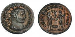 137  -  DIOCLECIANO. Follis. Heraclea (c. 295-6). R/ CONCORDIA MIL-ITVM; marca de ceca HA. RIC-13. EBC-/MBC+.
