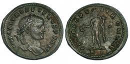 141  -  SEVERO II. Folis. Cízico (c. 307). R/ GENIO POPV-LI ROMANI; marca de ceca */KB. RIC-27b. MBC. Muy escasa.