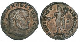 142  -  SEVERO II. Follis. Antioquía (c. 305). R/ GENIO POPV-LI ROMANI; marca de ceca E/ANT. RIC 71a. MBC-. Muy escasa.