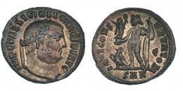144  -  LICINIO I. Follis. Cízico (313-315). R/ IOVI CONSERVATORI; marca de ceca E/SMK. RIC-4. MBC-/MBC.