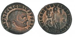 145  -  LICINIO I. Follis. Antioquía (315-316). R/ IOVI CONSERVATORI AVGG NN; marca de ceca E/ANT. RIC-17. Acuñación algo floja. MBC.