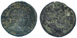 147  -  CONSTANTINO I. Follis. Treveris (307-310). R/ Busto del sol radiado y drapeado a der.; SOLI INVICTO COMITI. RIC-890. Pátina oscura. BC/BC+.