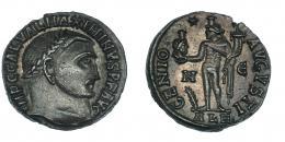 148  -  MAXIMINO. Follis. Alejandría (312). R/ GENIO AVGVSTI; marca de ceca */N/ palma-E/ALE. RIC-160b. R.P.O. EBC-.