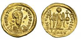 156  -  JUSTINIANO I. Sólido. Constantinopolis. Oficina I. SBB-137. Acuñación floja. R.B.O. EBC.