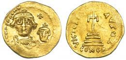 158  -  HERACLIO. Sólido. Constantinopolis. A/ Heraclio y Heraclio Constantino. R/ Oficina Z. SBB-734. Grafito en rev. y vanos. MBC.