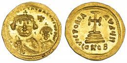 159  -  HERACLIO. Sólido. Constantinopolis. A/ Heraclio y Heraclio Constantino. R/ Oficina H. SBB-738. B.O. EBC.