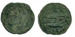 16  -  GADIR. Unidad. A/ Cabeza de Melkart a izq. R/ Dos atunes a izq.; en medio creciente con punto; encima y debajo ley. púnica mp'l/ `gdr. Resello. CNH-35? I-1339-41. ACIP-665? Pátina verde. BC+.