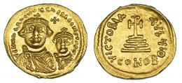 160  -  HERACLIO. Sólido. Constantinopolis. A/ Heraclio y Heraclio Constantino. R/ Oficina I Q. SBB-746. B.O. EBC.