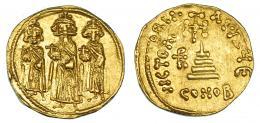 161  -  HERACLIO. Sólido. Constantinopolis. A/ Heraclio con Heraclio Constantino y Heraclonas. R/ Monograma a izq. de la cruz, oficina E. SBB-769. R.B.O. EBC-.