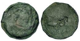 18  -  GADIR. Unidad. A/ Cabeza de Melkart a izq. R/ Ley. púnica agdr; resello delfín. I-1339-43?/ 1358 (rev.). ACIP-665? Pátina verde.