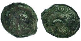 19  -  GADIR. Octavo? A/ Cabeza de Melkart a izq. R/ Delfín a izq.; encima y debajo ley. púnica. AE 1,89 g. CNH-47. I-1353. ACIP-677. Pátina verde.