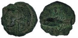 23  -  GADIR. Cuarto? A/ Cabeza de Melkart a izq. R/ Atún a der.; encima y debajo ley. CNH-62. I-1346. ACIP-692. Pátina verde rugosa. MBC.