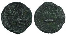 24  -  GADIR. Octavo? A/ Cabeza de Melkart a izq. R/ Atún a izq. AE 0,92 g. CNH-65. I-No. ACIP-695. Pátina verde rugosa. BC-.