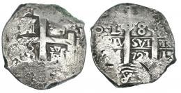 246  -  8 reales. 1723. Lima M. VI-1029. Rayas en anv. y rev. MBC.