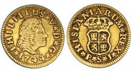 249  -  1/2 escudo. 1744. Sevilla. PJ. VI-1288. Finas rayas. MBC-.