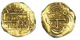 251  -  2 escudos. Nuevo Reino. Castillos y leones cambiados. Sin datos visibles. AU 6,77 g. AC-tipo 243. MBC+.