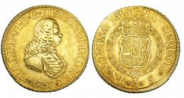 257  -  8 escudos. 1757. Nuevo Reino. S. VI-621. MBC-. Muy rara.