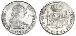 262  -  8 reales. 1788. Potosí PR. VI-996. Marcas. Flan grande. MBC+.
