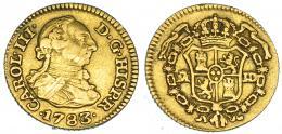 265  -  1/2 escudo. 1783. Madrid. JD. VI-1062. Rayas en anv. MBC.